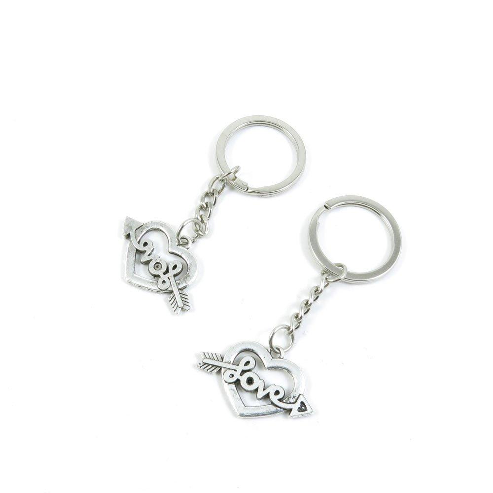 100 Pieces Keychain Door Car Key Chain Tags Keyring Ring Chain Keychain Supplies Antique Silver Tone Wholesale Bulk Lots H7BI4 Love Heart