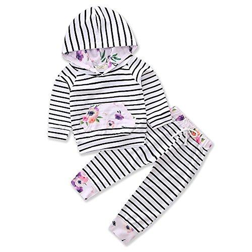 Samgami Baby Spring Autumn Stripe Sweater Hoodie Pocket Flower Pants Girls Boy Clothing Set