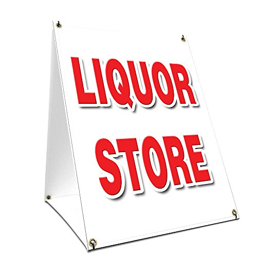 A-Frame Sidewalk Liquor Store Sign with Graphics On Each Side | 24