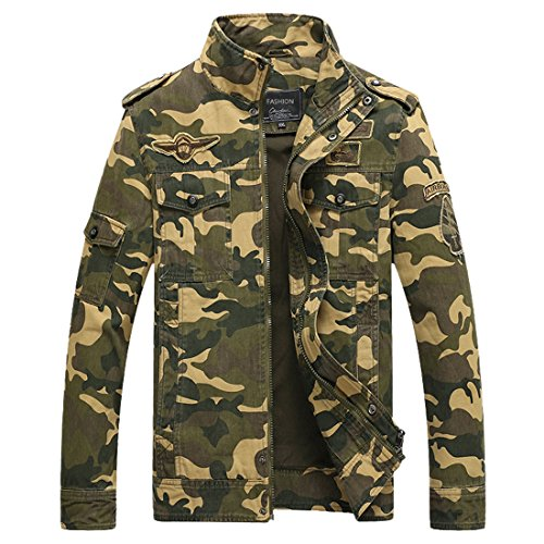 Mens Camouflage Jacket Bomber Jackets Army Field Jacket Military Air Force Coat Camo Jackets Lightweight Flight Pilot Coat (Khaki Tag L =US ()