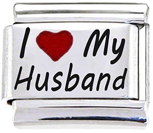 Stylysh Charms Husband I Love My Husband RH Laser Italian 9mm Link FA003 -