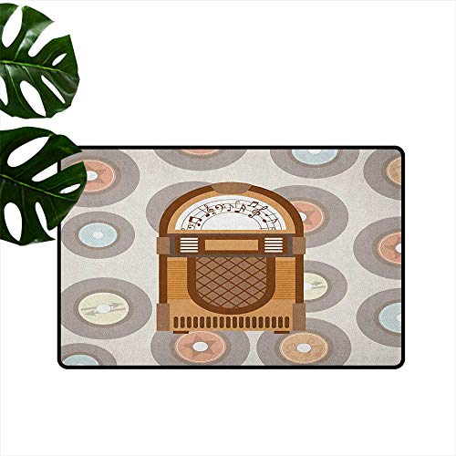 Music Garden Box Oriental - Jukebox Door mat Customization Pick Up Music with Vintage Abstract Long Players Backdrop Hard and wear Resistant W29 x L39 Brown Pale Coffee Grey and Peach