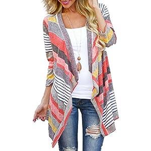 Myobe Women's Summer Kimonos Geometric Print Drape Boho Open Front Cable Knit Sweater Cardigans