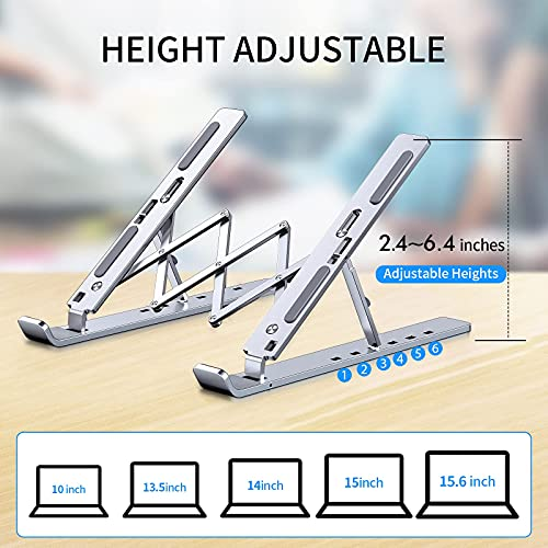 Laptop Stand Portable Aluminum Laptop Riser, Ergonomic Computer Stand for Desk Adjustable Height Compatible with MacBook Pro/Air, Dell XPS More 10 to 15.6 Inches Notebook, Silver
