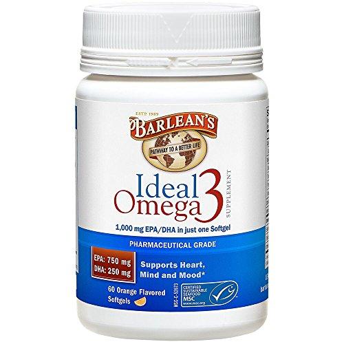 Cheap Barlean's Organic Oils Ideal Omega-3 Nutritional Supplement Softgel, 1000mg EPA/DHA, Orange Flavor, 60 Count