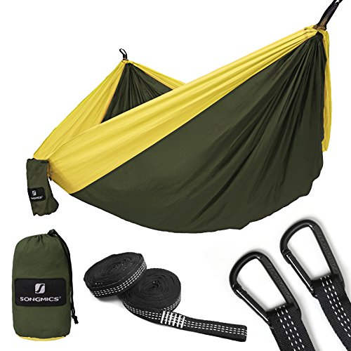 SONGMICS Ultra-Lightweight & Portable Hammock Hold up to 660LB Single & Double Parachute Nylon Camping Hammock Swing Bed 118'' x 78'' for Outdoor Backpacking, Hiking, Yard, Traveling (Double Parachute Nylon Hammock)