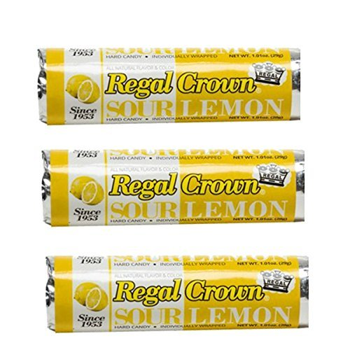 Sour Lemon Candy (Regal Crown Hard Candy 3 Pack - Sour Lemon Flavor - Individually Wrapped)