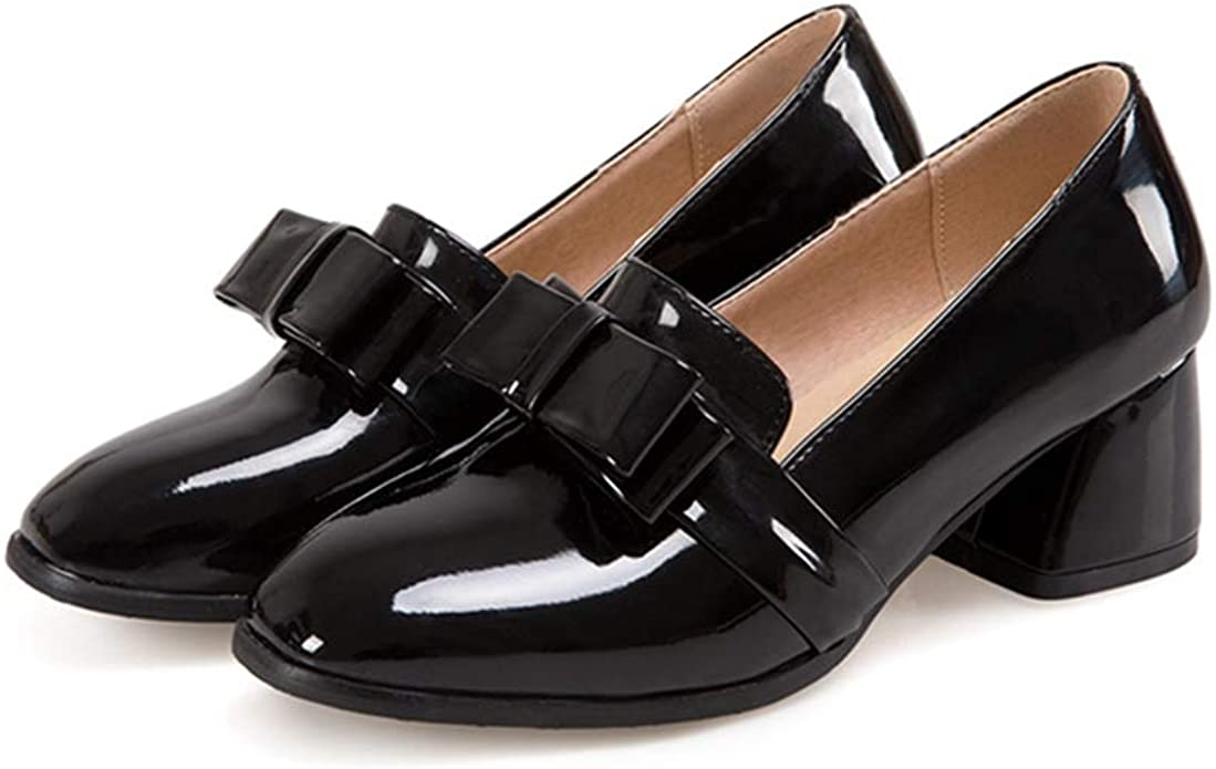 Womens Spring Slip on Comfort Shoes Metal Buckle Decor Loafers Low Heel Pumps