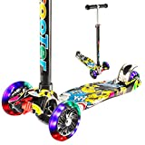 Geacool Kick Scooter for Kids, Stylish T-bar Scooter with 3 Adjustable Height, 4 LED Flashing PU Wheels Lean to Steer Mechanism, Ideal Birthday Toys for Boys & Girls 3-12 Years Old