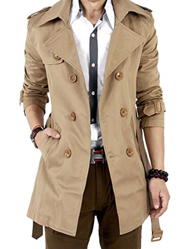 YUNY Mens Casual Double Breasted Slim Belted Trench Coat Jacket Khaki L ()