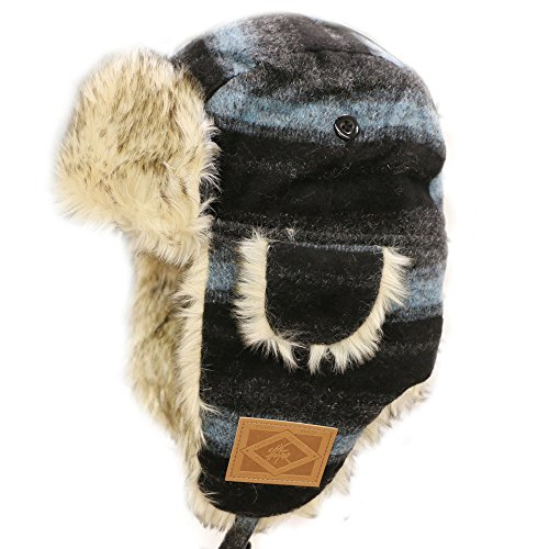 (CITY HUNTER W300 Wool Premium Solid Trapper Hats Multi Colors (440 Black/teal))