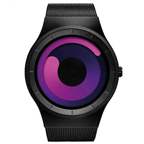 Man Swirl pointer Stainless Steel Mesh Strap Quartz Watch Fashion Male Clock Style Relogio Masculino (black red)