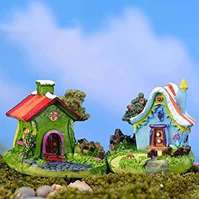 NIAN Mini Castillo Casa de Dibujos Animados Villa Mini Edificios Miniaturas Jardín de Hadas Gnomo Musgo Terrario Decoración Artesanía Bonsai Decoración del hogar: Amazon.es: Hogar