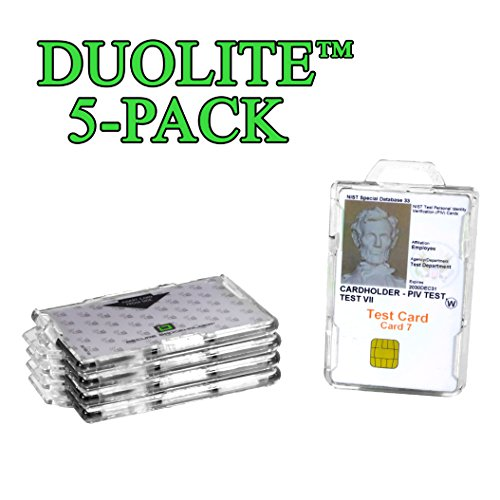 - ID Stronghold - Pack of 5 - RFID Blocking Secure Badge Holder - Duolite 2 Card ID Holder - Poly Carbonate - Heavy Duty Plastic ID Badge Holder - Molded and Assembled in The USA - FIPS 201 Approved