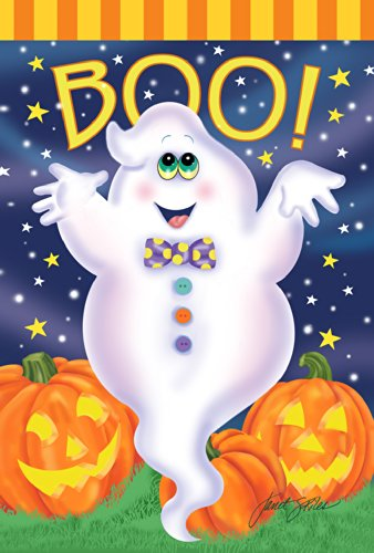 Toland Home Garden Boo Ghost 28 x 40 Inch Decorative Colorful Halloween Jack-o-Lantern Pumpkin Star House Flag ()