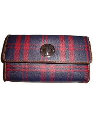 Women's Tommy Hilfiger Continental Checkbook Wallet (Burgandy/Navy Plaid) (NEW)