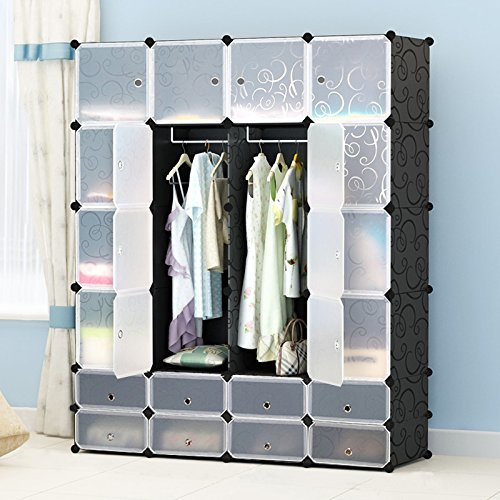 Portable DIY Clothes Closet Wardrobe Resin Finished – Freestanding Storage Organizer with doors