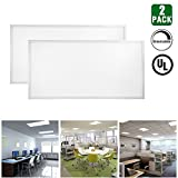 HIKETOLIGHT LED Panel Light 2ft x 4ft 50w (200W Equivalent)Troffer Flat Panel Ultra Thin Commercial Drop Ceiling Edge-Lit Dimmable Lamp Fixture 6250lm DLC Premium 4.2 Qualified-Pack of 2(5000K)