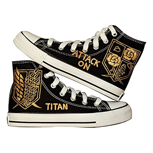 Bromeo Attack on Titan Unisexe Toile Salut-Top Sneaker Baskets Mode Chaussures