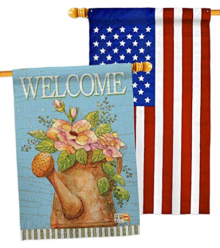(Breeze Decor HP100051-P3AB Welcome Watering Can Inspirational Sweet Home Impressions Decorative Vertical 28