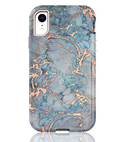- BAISRKE Shiny Rose Gold Blue Green Marble Case Heavy Duty Hybrid 3-Layer Full-Body Protect Case Soft TPU & Hard Plastic Back Cover Compatible with iPhone XR 2018 [6.1 inch]