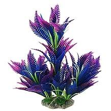 Elisona-Plastic Coconut Tree Leaf Shape Artificial Water Aquatic Plant Fish Tank Aquarium Landscape Decoration Ornament Blue + Purple
