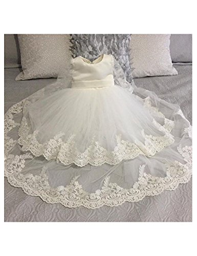 Christening Satin Dress Tulle (CYTCreation Baby Girl Christening Gown Long Tulle Lace Trim Edge Baptism Dress Light Ivory (0-3 Months))