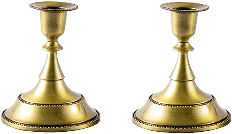 VOSAREA Brass Finished Taper Candle Holders, Metal, Traditional Shape, Fits Standard Candlestick Diameters - Set of 2
