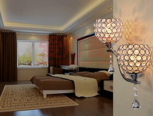 Best to Buy Modern Luxury Crystal Wall Light Chrome Finish Wall Sconce Lighting Fixture(E26 bulb not included) (2 heads) by BTB® (Image #6)