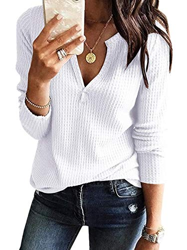 Women's V Neck Waffle Knit Henley Tops Casual Long Sleeve Pullover Sweater Blouses (White, Medium)