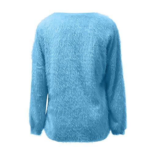 colore L Con Sciolto Maglione In Blu Dimensione Lunga Lunghe Maniche A Lanterna Lana Fuxitoggo pZxqvOnv