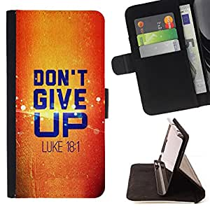 BullDog Case - FOR/Samsung Galaxy Core Prime / - / DON'T GIVE UP - LUKE 18.1 /- Monedero de cuero de la PU Llevar cubierta de la caja con el ID Credit Card Slots Flip funda de cuer