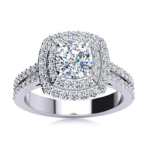 AGS Certified 1 3/4 Carat Total Weight Cushion Cut Halo Diamond Engagement Ring With 1ct Center In 14 Karat White Gold