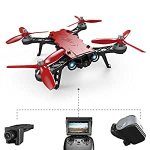 XFUNY Bugs 8 Pro RC Quadcopter 5.8G 720P Camera Live Video 2.4GHz High Speed RC Racing Helicopter 6-Axis Gyro Aircraft B8pro FPV Drone with VR Goggles and RX Display (B8pro)