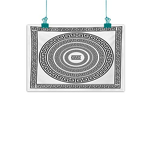 Modern Frameless Painting Greek Key Traditional Meander Border Set with Square and Circles Antique Ethnic Frame Pack Canvas Prints for Home Decorations W24 xL16 Black White - Greek Key Vase