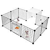 LIVINGbasics™ Pet Dog Playpen, Small Animal Cage Indoor Portable Metal Wire Yard Fence for Small Animals,14 Panels