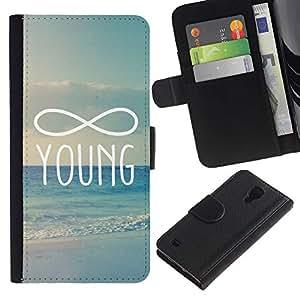 KLONGSHOP / Tirón de la caja Cartera de cuero con ranuras para tarjetas - Young Forever - Samsung Galaxy S4 IV I9500