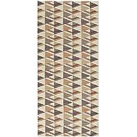 2-Feet X 10-Feet Foam Rubber Runner Rug | Brown Geometric Design Modern Floor Runner 2X10