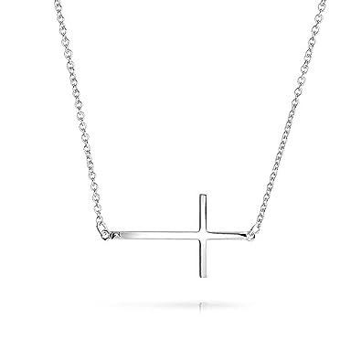 Sideways Cross .925 Sterling Silver Pendant Necklace