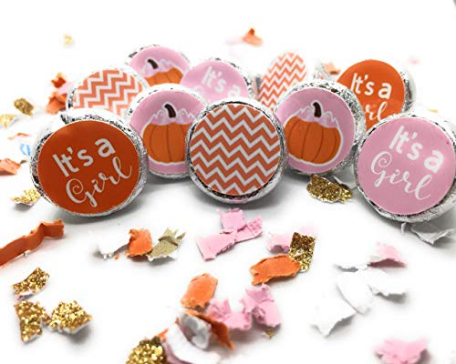 Little Pumpkin Baby Shower Hershey's Kisses Stickers - (Set of 210) Pink or Blue]()