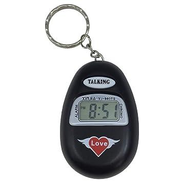 VISIONU Reloj Llavero Parlante en Español, Alarma LCD con Voz (Negro): Amazon.es: Hogar