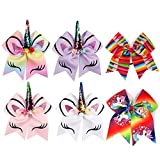 6 Pcs Large Baby Girl Hair Bows, 8 Inch Unicorn Cheer Bows Teen Girls Hair Bow with Elastic Band for Cheerleader Girls