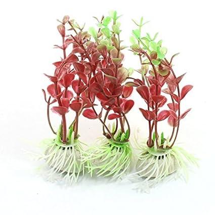 eDealMax 3 Piece plantas del tanque de plástico Pescado Hierba Decoración, 4.3, Verdes