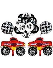2 Pcs Monster Truck Mylar Foil Balloons Checkered Racing Car Flag Latex Happy Birthday Balloon Decoration kit