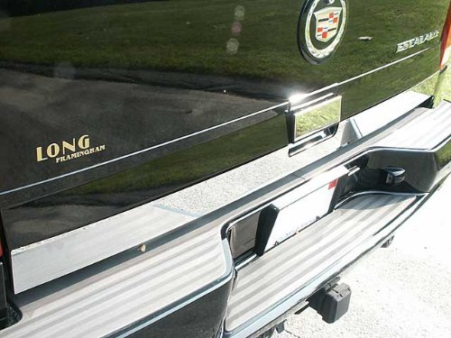 QAA FITS ESCALADE 2002-2006 CADILLAC (2 Pc: Stainless Steel Rear Tailgate Accent Trim - 3.25