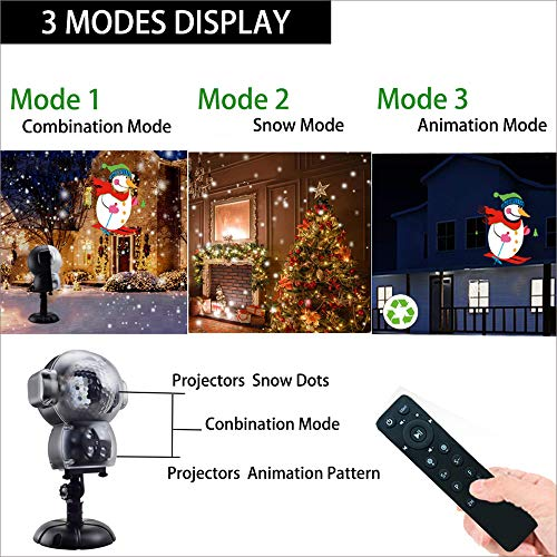 UPODA Christmas LED Snowfall Halloween Waterproof with Remote Control Timer and Music Player Anime Snow Light Projector for Outdoor Wedding Xmas Holiday Party Decorations by UPODA (Image #2)