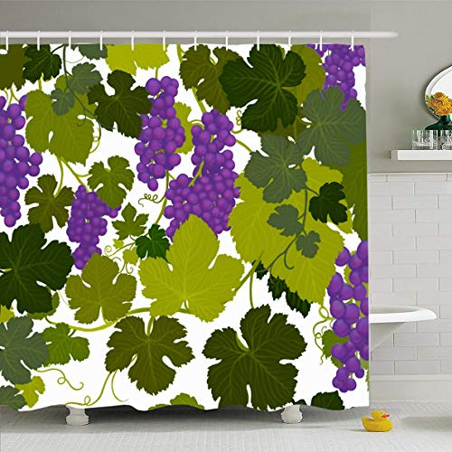 - Ahawoso Shower Curtain 66x72 Inches Valley Green Arbor Grape Vines Wine Country Airbrush Painting Alcohol Purple Bottle Cabernet Waterproof Polyester Fabric Set with Hooks