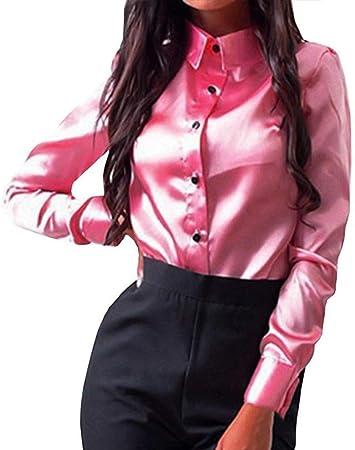 GCDN - Camisa para mujer, manga larga, de satén, color sólido, con botones, No nulo, Verde, X-Large: Amazon.es: Hogar