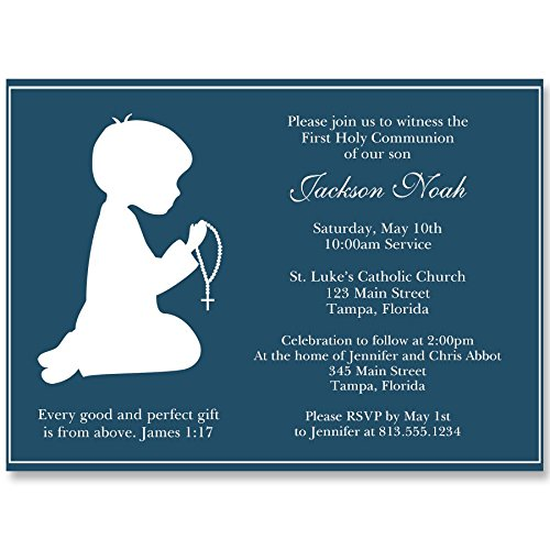 Communion Invitations, Confirmation, First Communion, Holy, Baptism, Religious, Cross, Navy, White, Praying, Hands, Rosary, Kneeling, 10 Printed Invites, -
