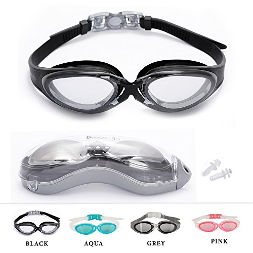 Swimming goggles good vision no leak swim goggles comfy fit swimming pool glasses by Bezzee-Pro (Black, Clear Lens)